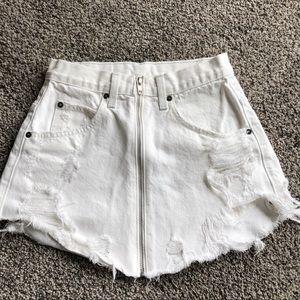 Carmar white denim zip skirt